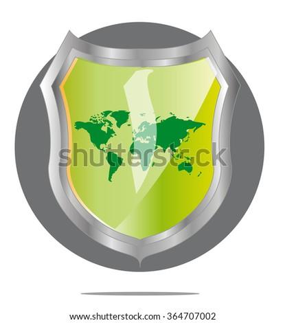 Illustration of green world map in grey shield - stock vector