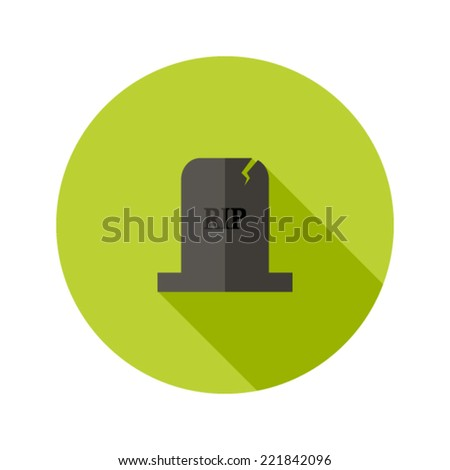 Illustration of Grey Tombstone RIP Flat Icon - stock vector