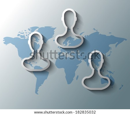 Illustration of group friends with world map - stock vector