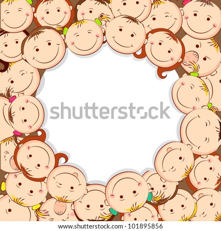 illustration of group of kid looking upward with copyspace - stock vector