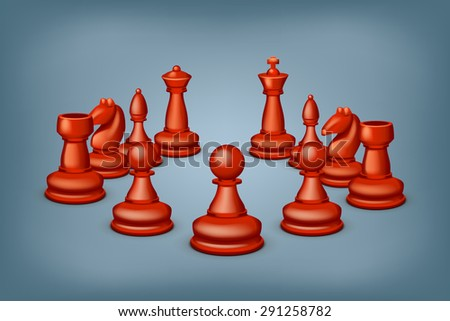 illustration of group of red figures for chess on blue background - stock vector