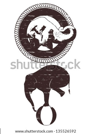 Illustration of grunge Asian elephant in rope frame, silhouette of grunge elephant balancing on a ball, vector - stock vector