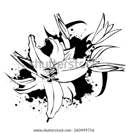 Illustration of Grunge Vintage Lily Flower Bouquet With Splashes - stock vector