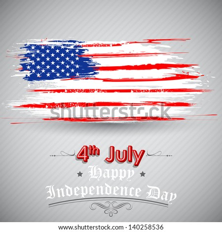 illustration of Grungy American Flag Background for Independence Day - stock vector