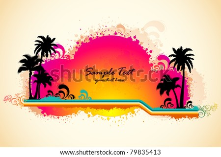 illustration of grungy sea beach view with palm tree and sun - stock vector