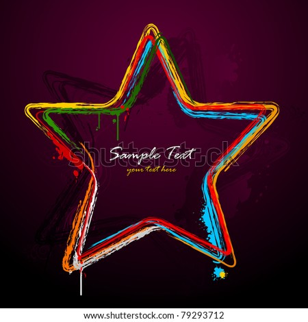 illustration of grungy star on abstract background - stock vector