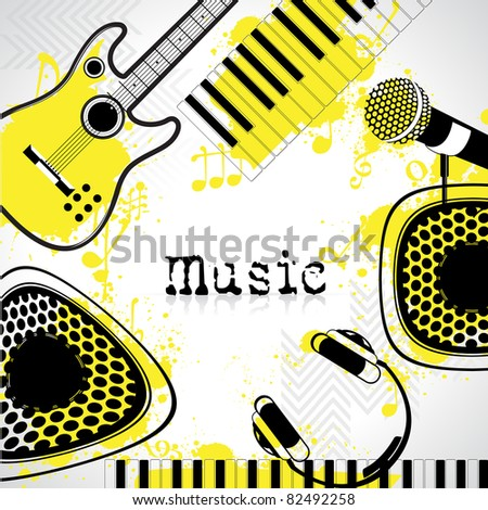 illustration of guitar,microphone,headphone and keypad on musical background - stock vector