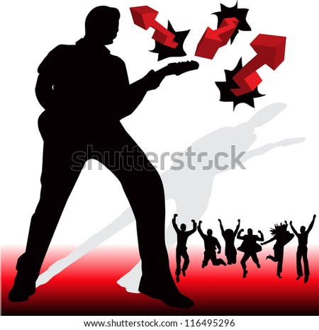 Illustration of guitarist and happy people - stock vector