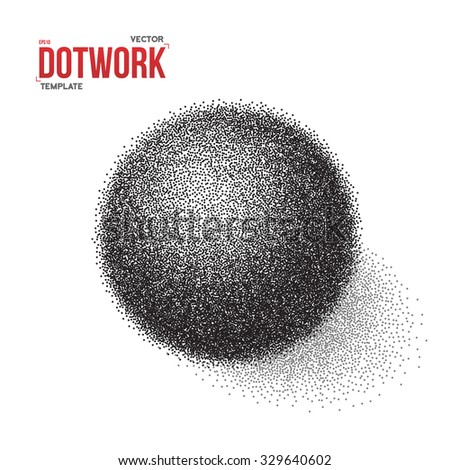 Illustration of Halftone 3D Ball template. Dotwork Tattoo Style 3D Ball Vector EPS10