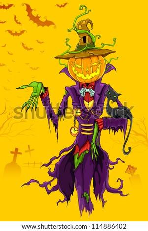illustration of Halloween ghost with pumpkin head - stock vector