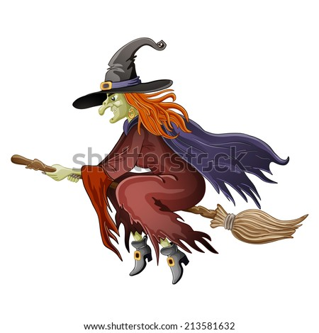 Illustration of Halloween witch flying on broom - stock vector