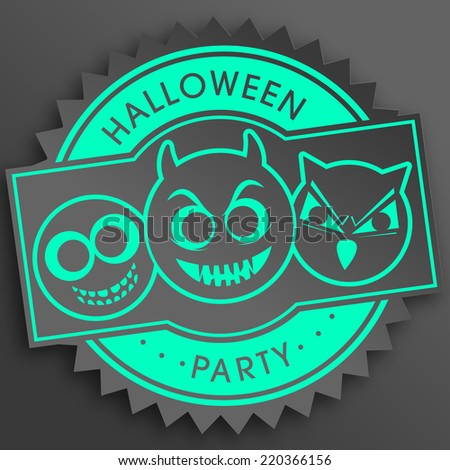 illustration of Halloween with intricate sticker or stamp.