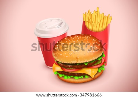 illustration of hamburger french fries and paper cup of coffee