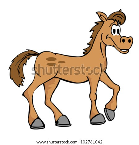 illustration of hand drawn cartoon horse isolated on white