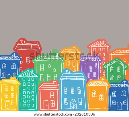 Illustration of hand drawn colored houses in town - stock vector