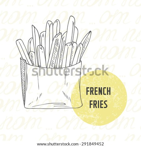 Illustration of hand drawn french fries potato. Sketched fast food in vector - stock vector