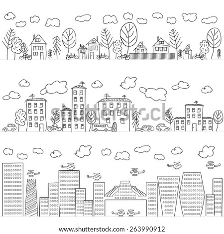 Illustration of hand drawn houses, seamless pattern - stock vector