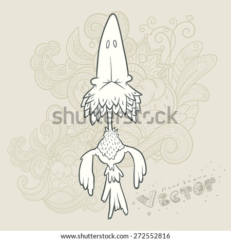 Illustration of hand drawn retro bird. Hand drawn vector cartoon. The concept of the character on abstract floral background. - stock vector