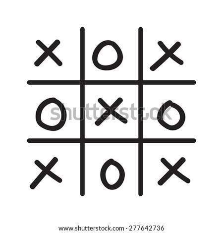 Illustration of hand drawn tic-tac-toe game isolated on white background - stock vector