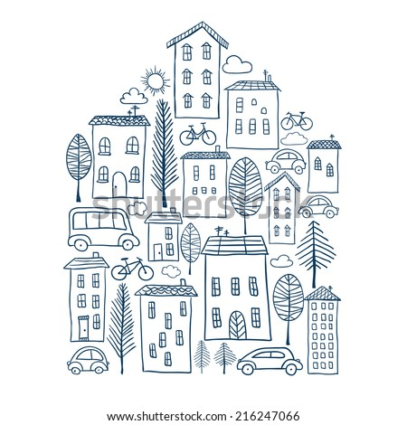 Illustration of hand drawn town in house shape - stock vector