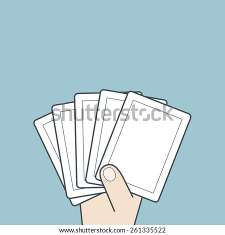 Illustration of hand holding blank cards game  - stock vector
