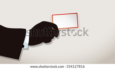 illustration of hand holding paper business car - stock vector