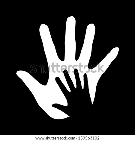Illustration of hand in hand in black-and-white colors symbolizing concept of help, assistance and cooperation.