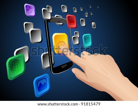 Illustration of hand pressing a web app icon on cloud integrated touch screen mobile phone. Vector eps 10 file layered, grouped and named for easy editing. - stock vector