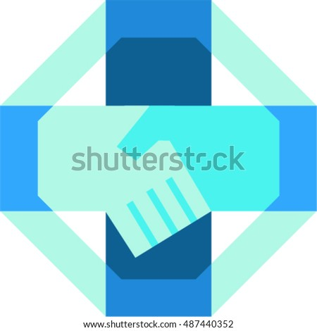 Illustration of hand shaking forming a cross viewed from the side set inside octagon shape done in retro style.