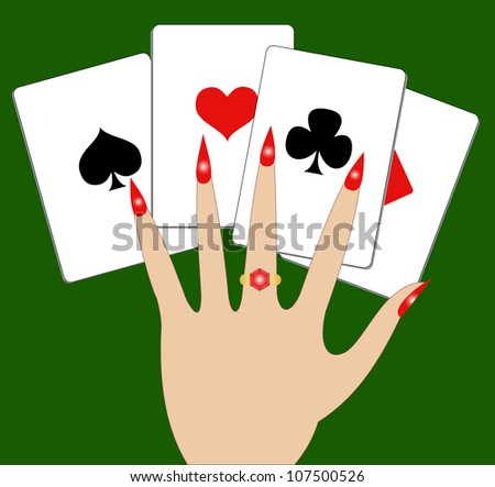 Illustration of hand with playing cards on a green background