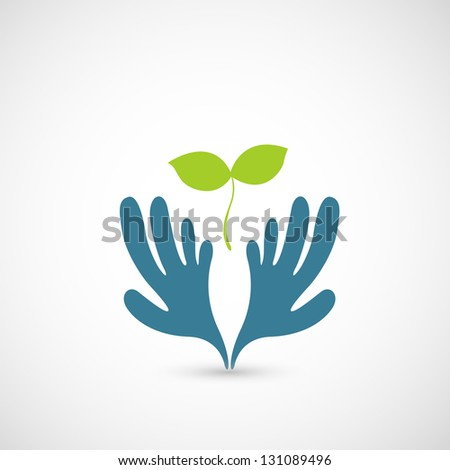 illustration of Hands and plant - stock vector