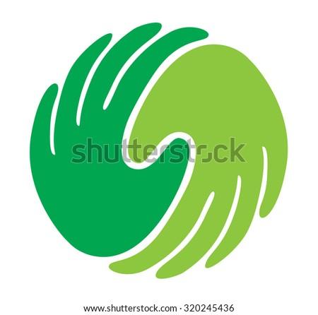 Illustration of 2 hands describing solidarity - stock vector