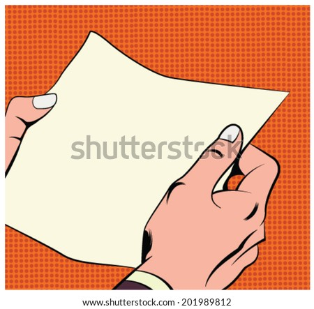 Illustration of hands holding a paper sheet in a pop art/comic style - stock vector