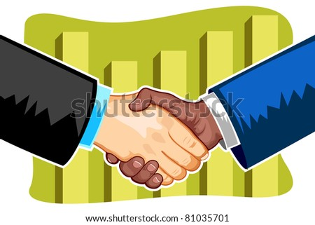 illustration of handshake between business people on bar graph at backdrop - stock vector
