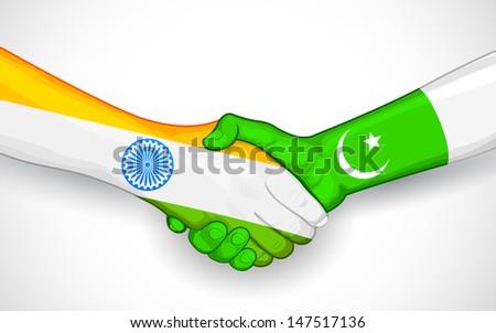 illustration of handshake between India and Pakistan - stock vector