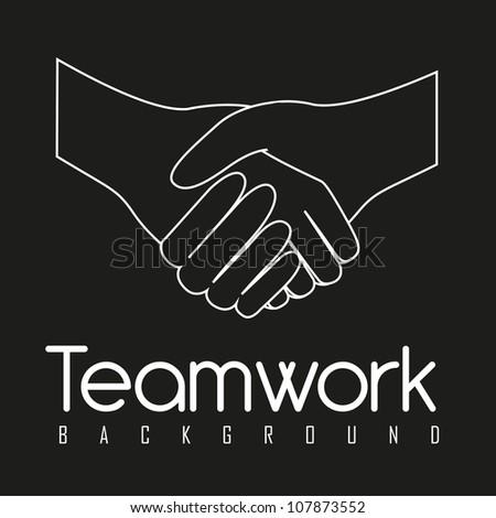 illustration of handshake isolated on black background, vector illustration - stock vector