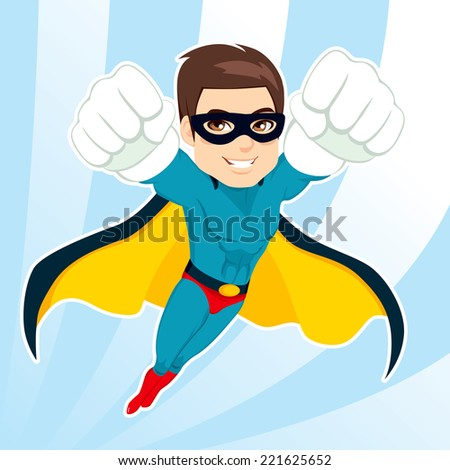 Illustration of handsome muscular strong man in superhero costume flying - stock vector