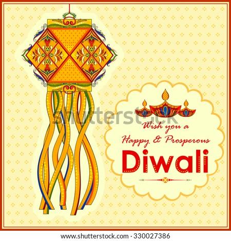 illustration of hanging kandil lamp and diya for Diwali decoration  - stock vector