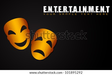 illustration of happy and sad mask on entertainment background - stock vector
