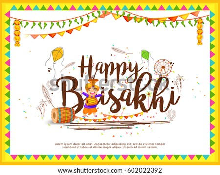 Illustration Of Happy Baisakhi Celebration Background.