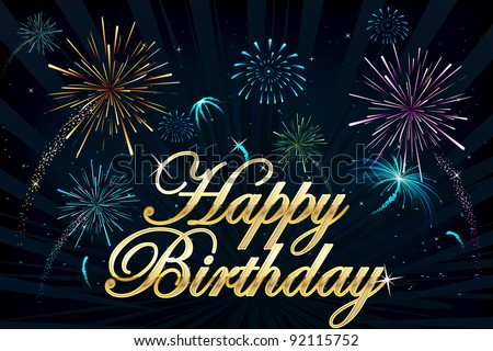 illustration of happy birthday text on firework backdrop - stock vector