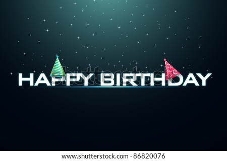 illustration of happy birthday with birthday cap in stray background - stock vector