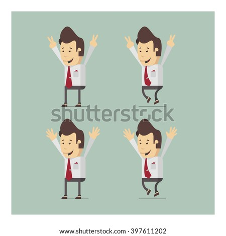 Illustration of happy businessman or manager. Success, victory. Vector