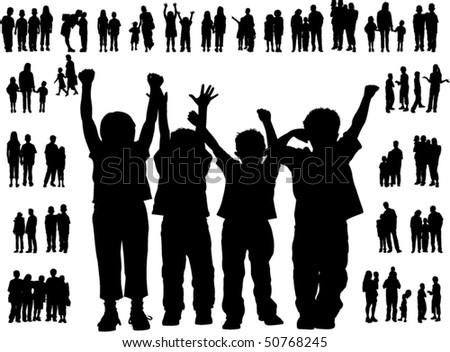 illustration of happy children - stock vector