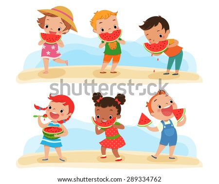 illustration of happy children enjoy eating watermelon - stock vector