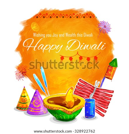 illustration of Happy Diwali background colorful watercolor diya - stock vector
