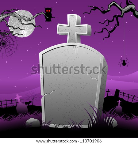 illustration of Happy Halloween in tomb stone in scary night - stock vector