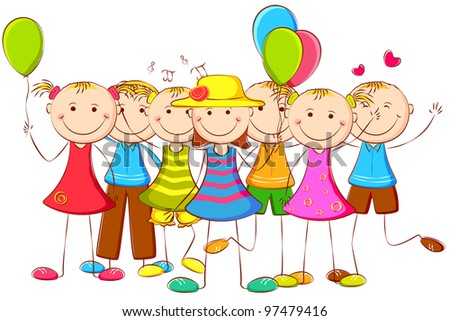 illustration of happy kids standing with balloon - stock vector