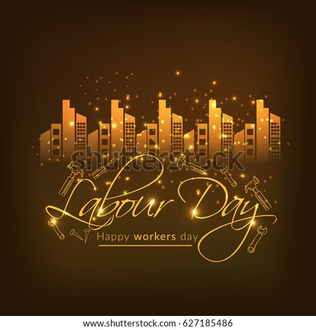 Illustration Of Happy Labour Day With Stylish Text Background.