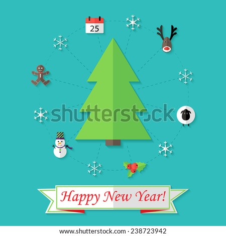 Illustration of Happy New Year Card with Christmas Tree over Blue